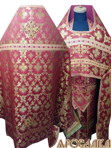 АРТ274. Риза красная шелк Терновый венец, отделка цветной галун(красный с золотом).