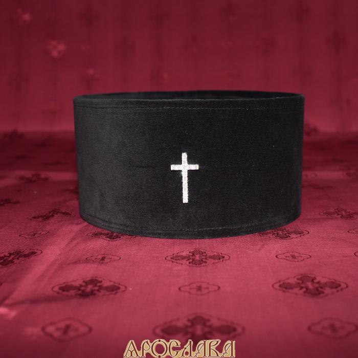 АРТ 330. Скуфия греческая,архиерейская. Ткань верха бархат, подклад хлопок. Крест серебряный с фианитами.
