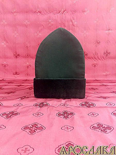АРТ346. Скуфия русская, демисезонная. Ткань черный мокрый шелк.Отворот черный бархат.Подклад хлопок.