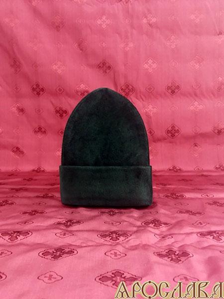 АРТ347. Скуфия русская, зимняя с отворотом. Ткань черный бархат, утеплена синтепоном.