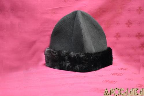 АРТ354. Скуфия русская, зимняя. Ткань черный кашемир,отворот мех норки,утеплена шерстипоном.