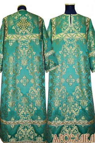 АРТ 361. Стихарь зеленый с золотом шелк Слуцкий, отделка цветной галун (зеленый с золотом).