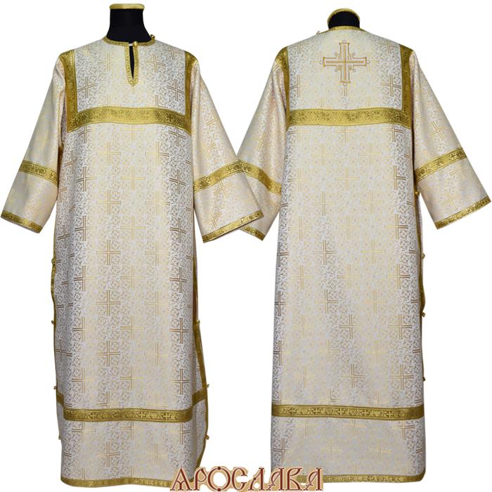 АРТ 362. Стихарь бело-золотой  шелк Афон, обыденная отделка (цвет золото).