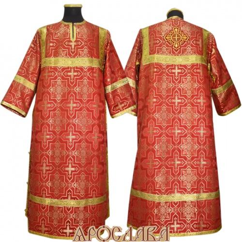 АРТ 369. Стихарь красный  шелк Кустодия, обыденная отделка (цвет золото).