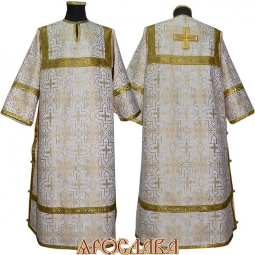 АРТ 370. Стихарь бело-золотой  шелк Кустодия, обыденная отделка (цвет золото).