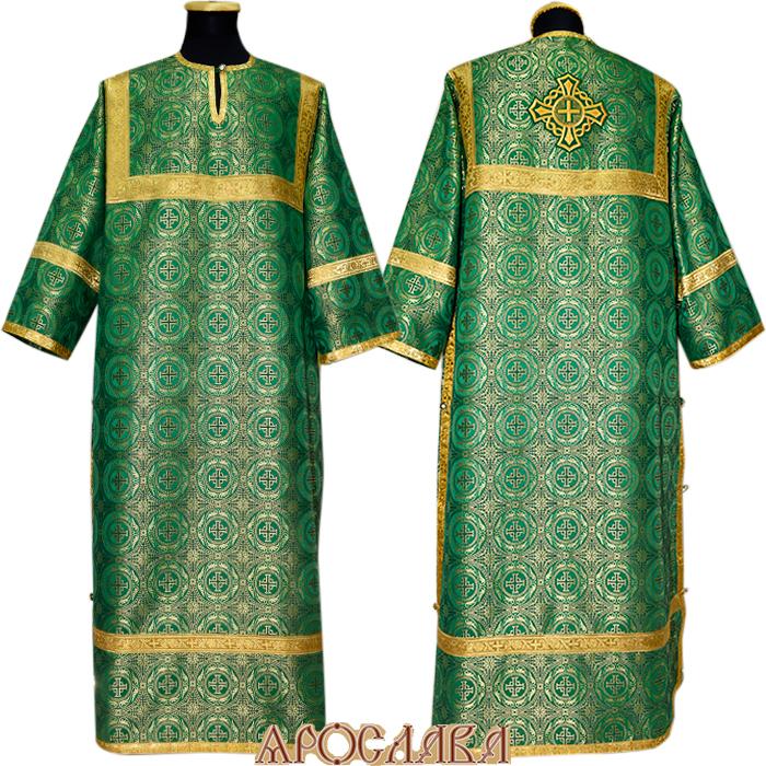 АРТ 372. Стихарь зеленый  шелк Коринф, обыденная отделка (цвет золото).
