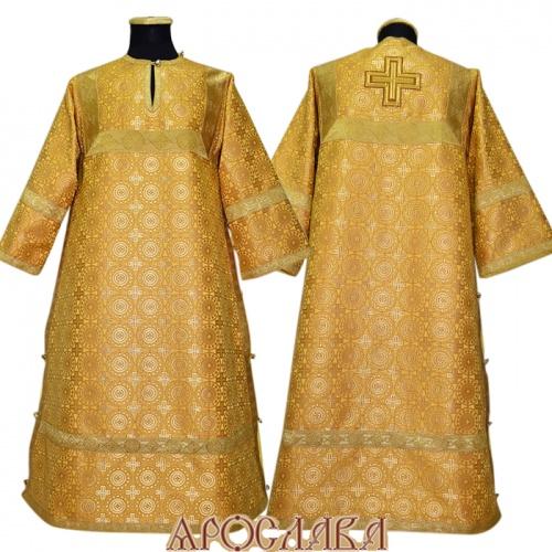 АРТ 375. Стихарь желтый шелк Мирликийский крест мелкий, отделка цветной галун (цвет золото).