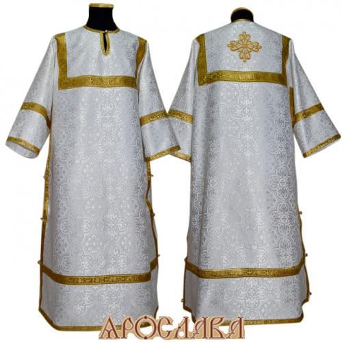 АРТ 377. Стихарь белый с серебром шелк Василия, обыденная отделка (цвет золото).