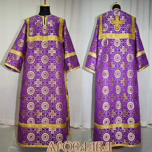 АРТ 388. Стихарь фиолетовый с золотом шелк Мирликийский крест крупный, обыденная отделка (цвет золото).