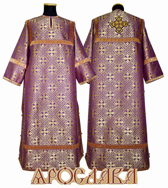 АРТ 390. Стихарь фиолетовый с золотом шелк Каменный цветок, отделка цветной галун (фиолетовый с золотом).