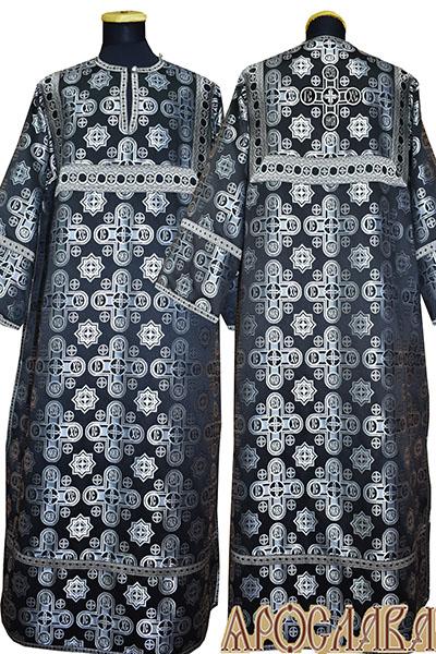 АРТ 392. Стихарь черный с серебром шелк Вифлеем, отделка цветной галун (черный с серебром).
