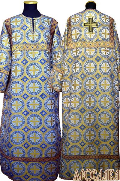 АРТ 393. Стихарь шелк Троицкий, отделка цветной галун (голубой с золотом).