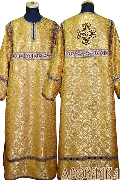 АРТ 395. Стихарь желтый шелк Василия, отделка цветной галун (бордовый с золотом).