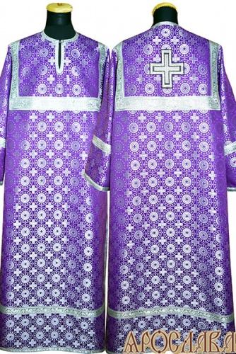 АРТ 396. Стихарь фиолетовый с серебром шелк Мирликийский крест мелкий, обыденная отделка (цвет серебро).