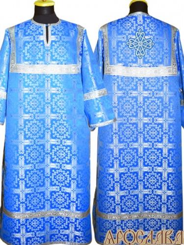 АРТ 397. Стихарь голубой с серебром шелк Подольский, обыденная отделка (цвет серебро).