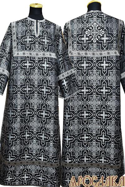 АРТ 398. Стихарь шелк Кустодия, отделка цветной галун (черный с серебром).