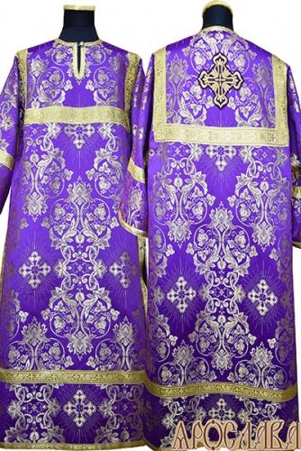 АРТ 399. Стихарь фиолетовый с золотом шелк Слуцкий, обыденная отделка (цвет золото).