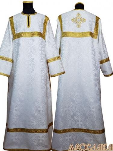 АРТ 403. Стихарь белый с серебром шелк Алтайский, обыденная отделка (цвет золото).