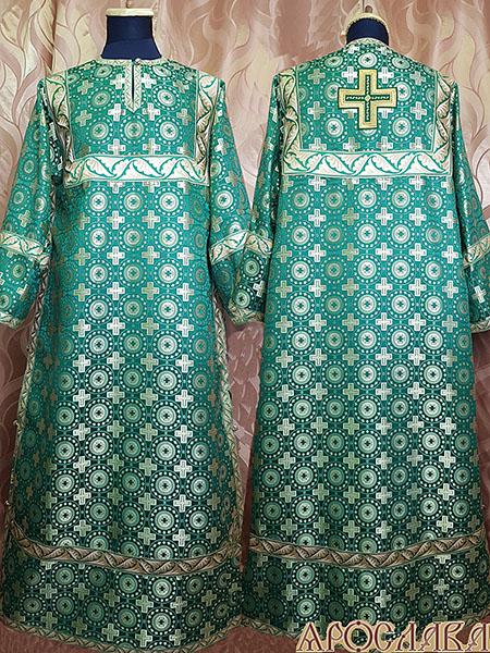 АРТ 404. Стихарь зеленый шелк Мирликийский крест мелкий, отделка цветной галун (зеленый с золотом).
