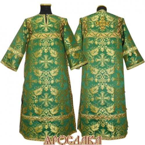 АРТ 407. Стихарь шелк Курский, отделка цветной галун (зеленый с золотом).