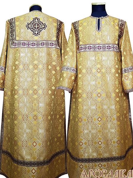 АРТ 408. Стихарь желтый шелк Византийский, отделка цветной галун (бордовый с золотом).