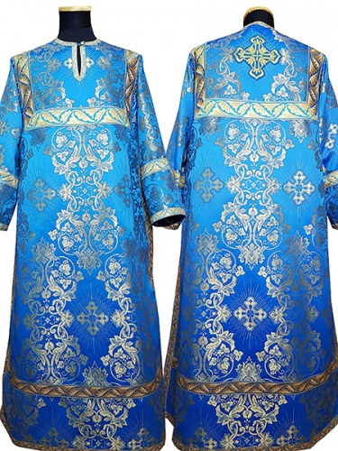 АРТ 410. Стихарь голубой с золотом шелк Слуцкий, отделка цветной галун (голубой с золотом).