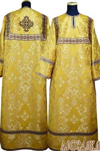 АРТ 411. Стихарь желтый шелк Слуцкий, отделка цветной галун (бордовый с золотом).