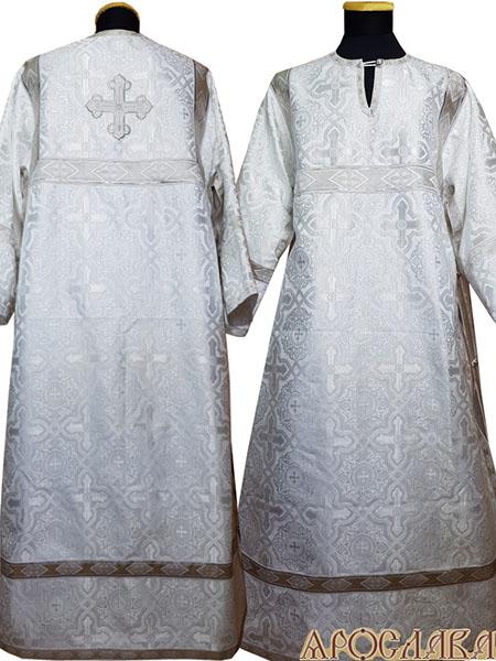 АРТ 414. Стихарь белый с серебром шелк Златоуст, отделка цветной галун (белый с серебром).