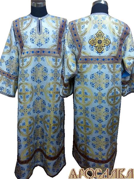 АРТ 417. Стихарь голубой с золотом шелк Почаевский, отделка цветной галун (голубой с золотом).