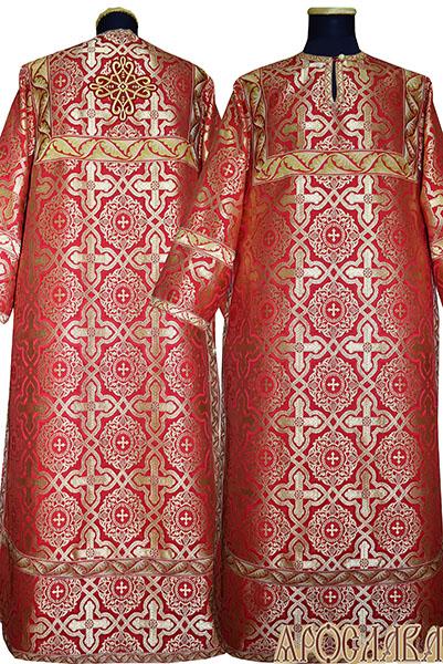 АРТ 421. Стихарь красный шелк Златоуст, отделка цветной галун (красный с золотом).