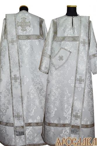 АРТ427. Диаконское облачение белый с серебром шелк Слуцкий, отделка цветной галун (белый с серебром).