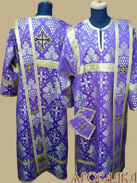 АРТ430. Диаконское облачение фиолетовый с золотом шелк Виноградная лоза, обыденная отделка (цвет золото).