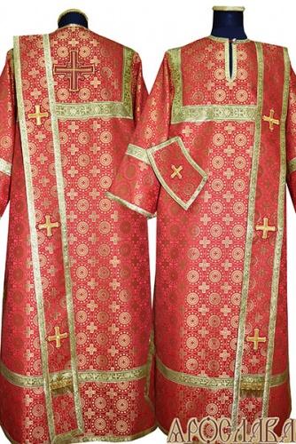 АРТ436. Диаконское облачение красный шелк Мирликийский крест мелкий, обыденная отделка (цвет золото).