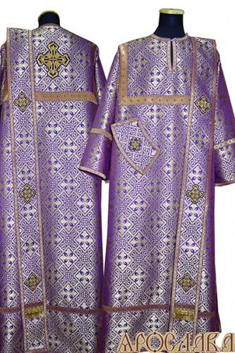 АРТ437. Диаконское облачение фиолетовый с золотом шелк Каменный цветок, отделка цветной галун (фиолетовый с золотом).