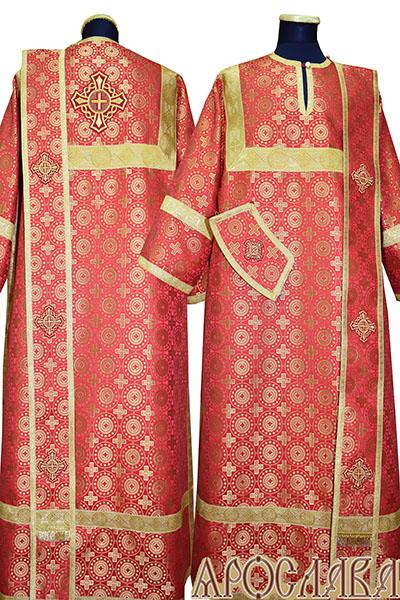 АРТ438. Диаконское облачение красный шелк Мирликийский крест мелкий, отделка цветной галун (цвет золото).
