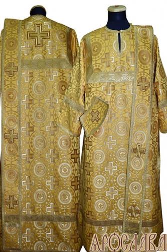 АРТ439. Диаконское облачение желтый шелк Мирликийский крест крупный, отделка цветной галун (цвет золото).