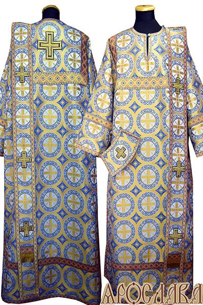 АРТ441. Диаконское облачение голубой с золотом шелк Троицкий, отделка цветной галун (голубой с золотом).