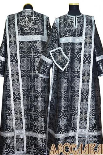 АРТ442. Диаконское облачение черный с серебром шелк Мирликийский крест мелкий, обыденная отделка (цвет серебро).