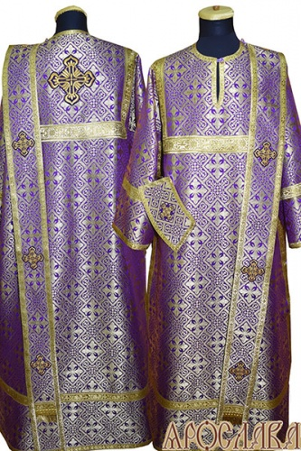 АРТ443. Диаконское облачение фиолетовый с золотом шелк Каменный цветок, обыденная отделка (цвет золото).