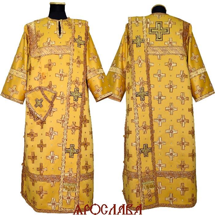АРТ446. Диаконское облачение желтый шелк Святительский, отделка цветной галун (бордовый с золотом).