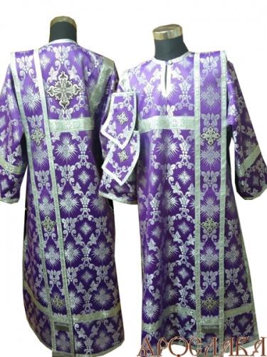 АРТ448. Диаконское облачение фиолетовый с серебром шелк Терновый венец, обыденная отделка (цвет серебро).
