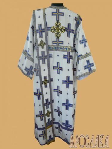 АРТ451. Диаконское облачение белый с голубыми крестами, греческий шелк Прямой крест, отделка цветной галун (голубой с золотом).