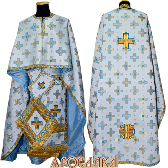 АРТ457. Риза греческий крой, шелк Святительский, отделка цветной галун (голубой с золотом).