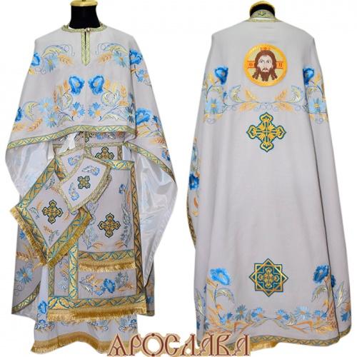 АРТ460. Риза греческий крой,ткань лен, вышивка рисунок Маки, отделка цветной галун (голубой с золотом).  Вышитая икона Спас Нерукотворный образ.