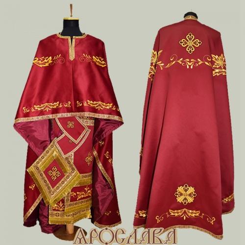 АРТ465. Риза греческий крой, бордовый однотонный атласный шелк, вышивка рисунок Благородный, отделка цветной галун (бордовый с золотом).