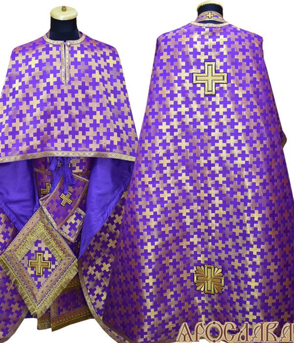 АРТ466. Риза греческий крой, фиолетовая с золотом парча Полтавский крест, отделка цветной галун (фиолетовый с золотом).
