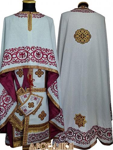 АРТ469. Риза греческий крой, белый лен, вышивка рисунок Русский Афон, отделка цветной галун (бордовый с золотом).Вышивка выполнена бордовым шелком.