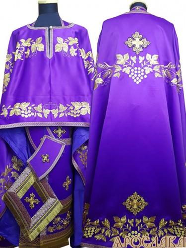 АРТ473. Риза греческий крой, фиолетовый однотонный атласный шелк, вышивка рисунок Корнилий, отделка цветной галун (фиолетовый с золотом).