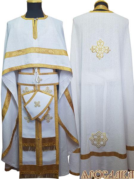 АРТ474. Риза греческий крой, белый лен, отделка цветной галун (цвет золото). На фелони дополнительный галун шириной 4см.