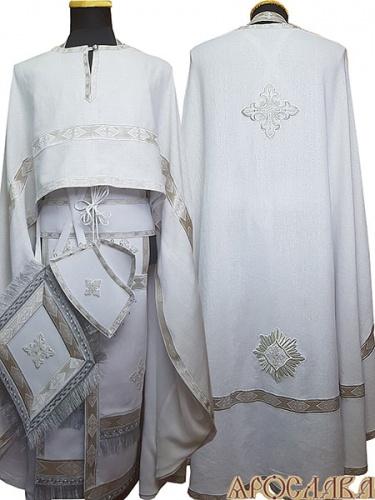 АРТ475. Риза греческий крой, белый лен, отделка цветной галун (белый с серебром). На фелони дополнительный галун шириной 4см.